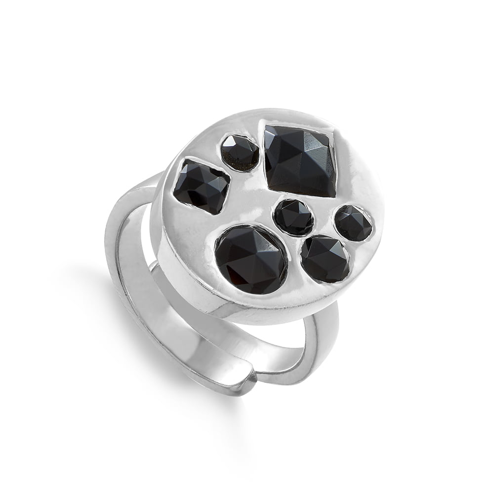 Portrait DiscoSVP adjustable ring set with seven different size and shaped black quartz set in sterling silver, Model wearing Portrait Disco SVP adjustable rings, , SVP_Jewellery_Box for Adjustable Rings, SVP_Jewellery_Box for Adjustable Rings, SVP_Jewellery_Box for Adjustable Rings, VP_Jewellery_adjustable ring sizer mandrel, Black_Quartz_Stone_Meaning_SVP_Jewellery