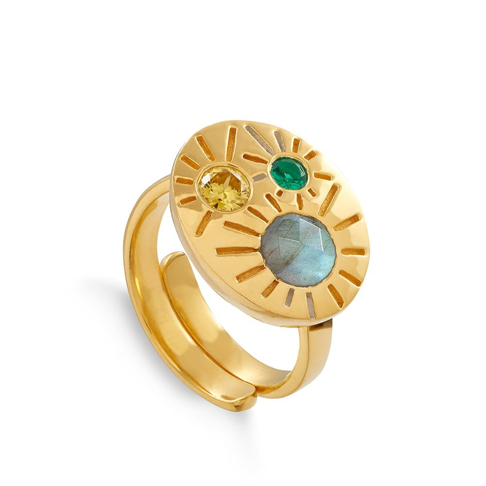 Large Dynamite 18 carat gold vermeil SVP adjustable ring set with labradorite, citrine and emerald quartz with engraving, Model wearing large adjustable SVP Dynamite rings set with three gemstones and engraved, SVP_Jewellery_Box for Adjustable Rings, SVP_Jewellery_Box for Adjustable Rings, SVP_Jewellery_Box for Adjustable Rings, Labradorite_Stone_Meaning_SVP_Jewellery, How to size and style your SVP adjustable rings
