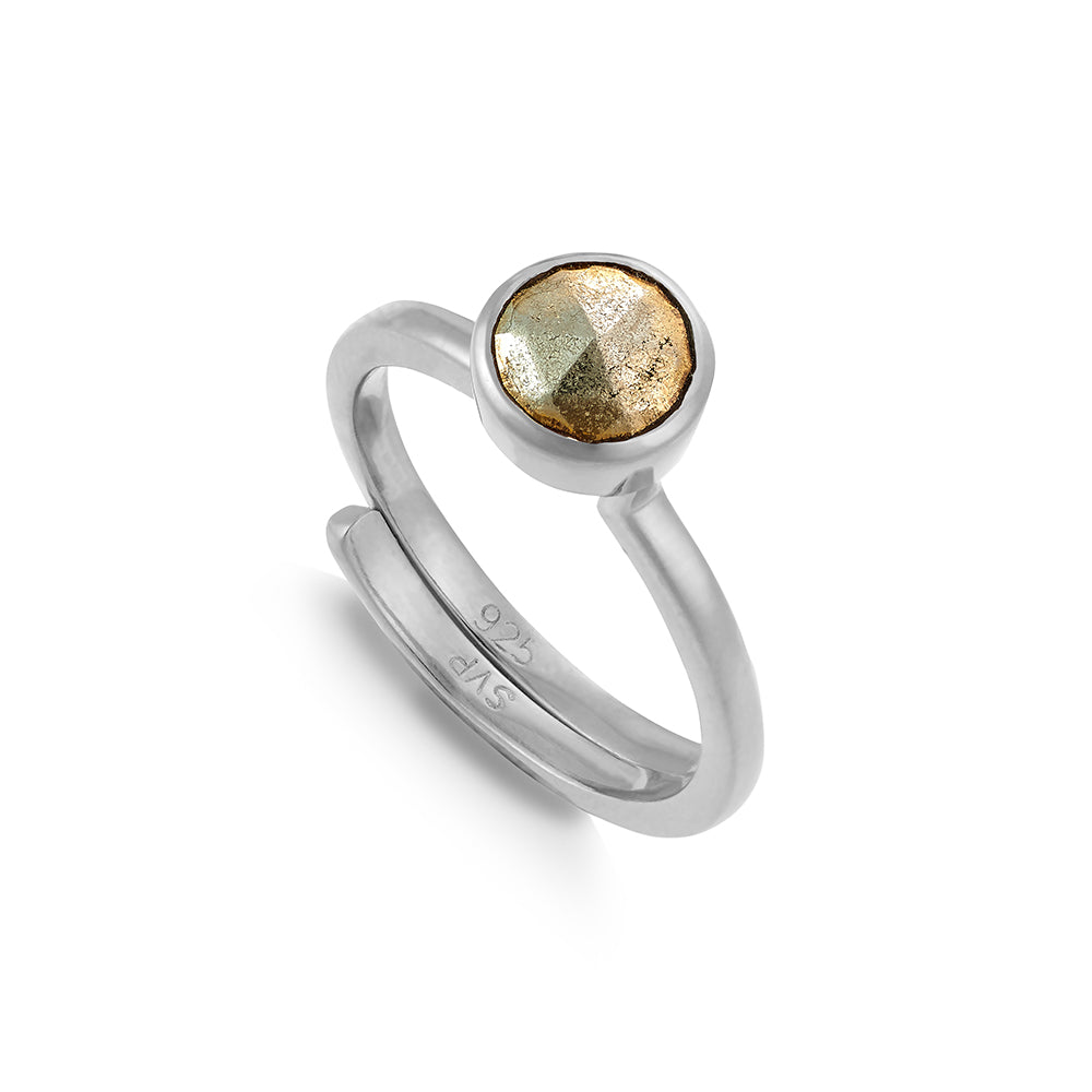 Shine On Hope Pyrite Silver Ring