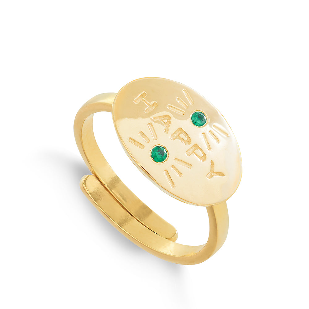 Hero Happy Green Quartz Gold Ring