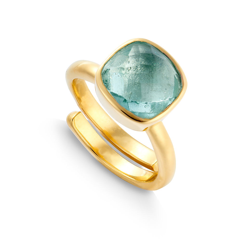 SVP Large Highway Star adjustable ring set with green marine quartz on 18 carat gold vermeil