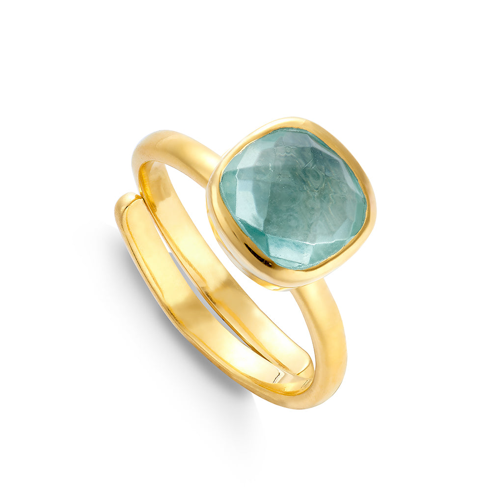 SVP Medium Highway Star adjustable ring set with green marine quartz on 18 carat gold vermeil