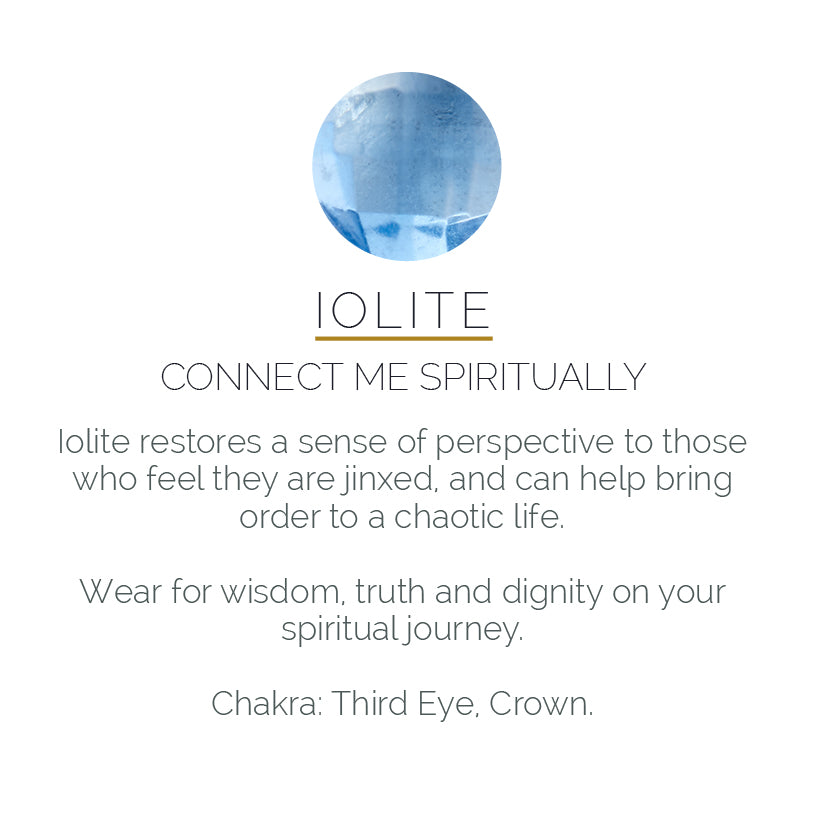 Iolite gemstone meaning card - connect me spiritually