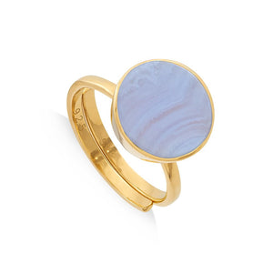 SVP Moondance Adjustable Ring Blue Lace Agate set on a 18 Carat Gold Vermeil adjustable band, SVP_Jewellery_Box for Adjustable Rings, SVP_Jewellery_Box for Adjustable Rings, SVP_Jewellery_Box for Adjustable Rings, Blue_Lace_Agate_Stone_Meaning_SVP_Jewellery, How to size and style your SVP adjustable rings