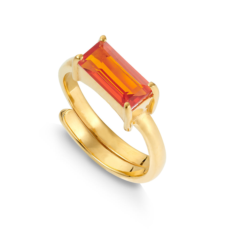 Nirvana Orange Quartz Gold Ring.