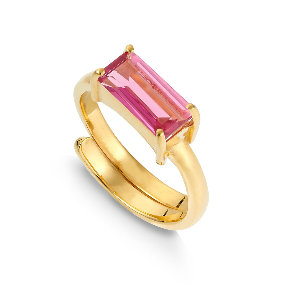 Nirvana Pink Quartz Gold Ring