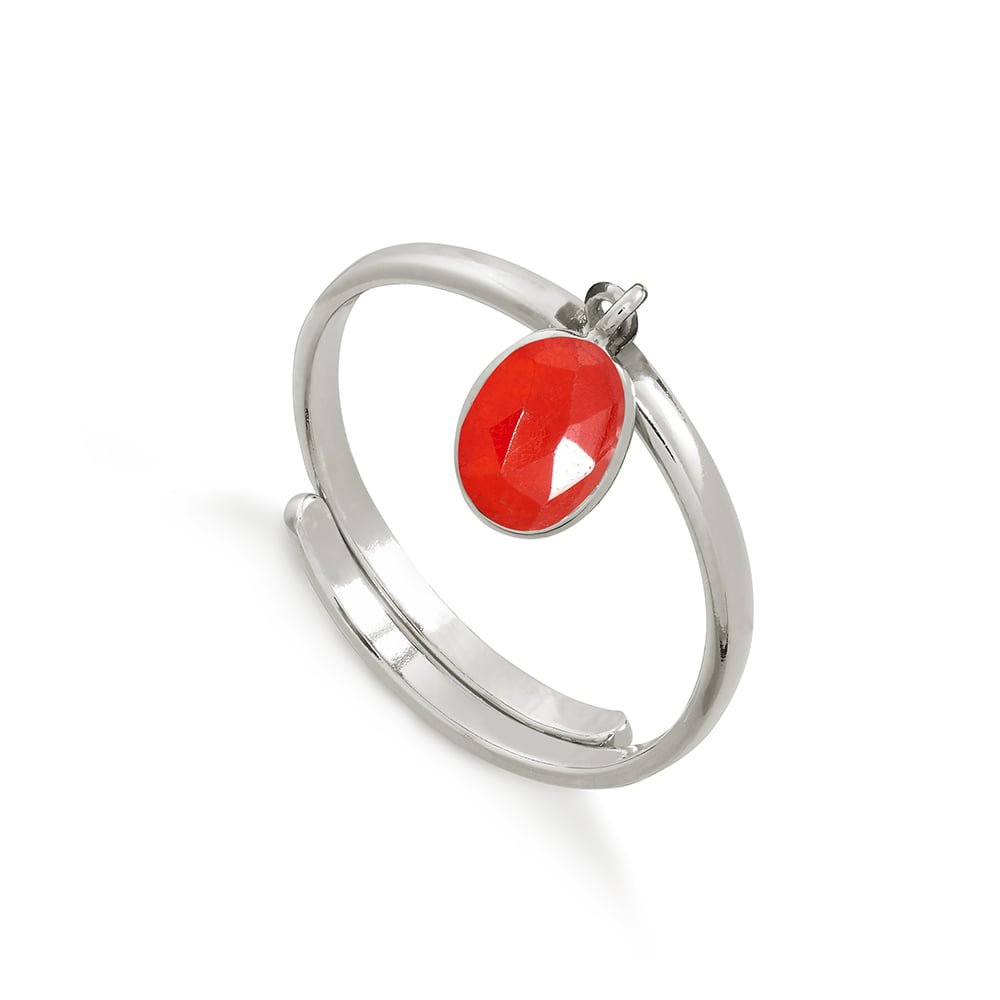 Rio Bright Red Quartz Silver Ring