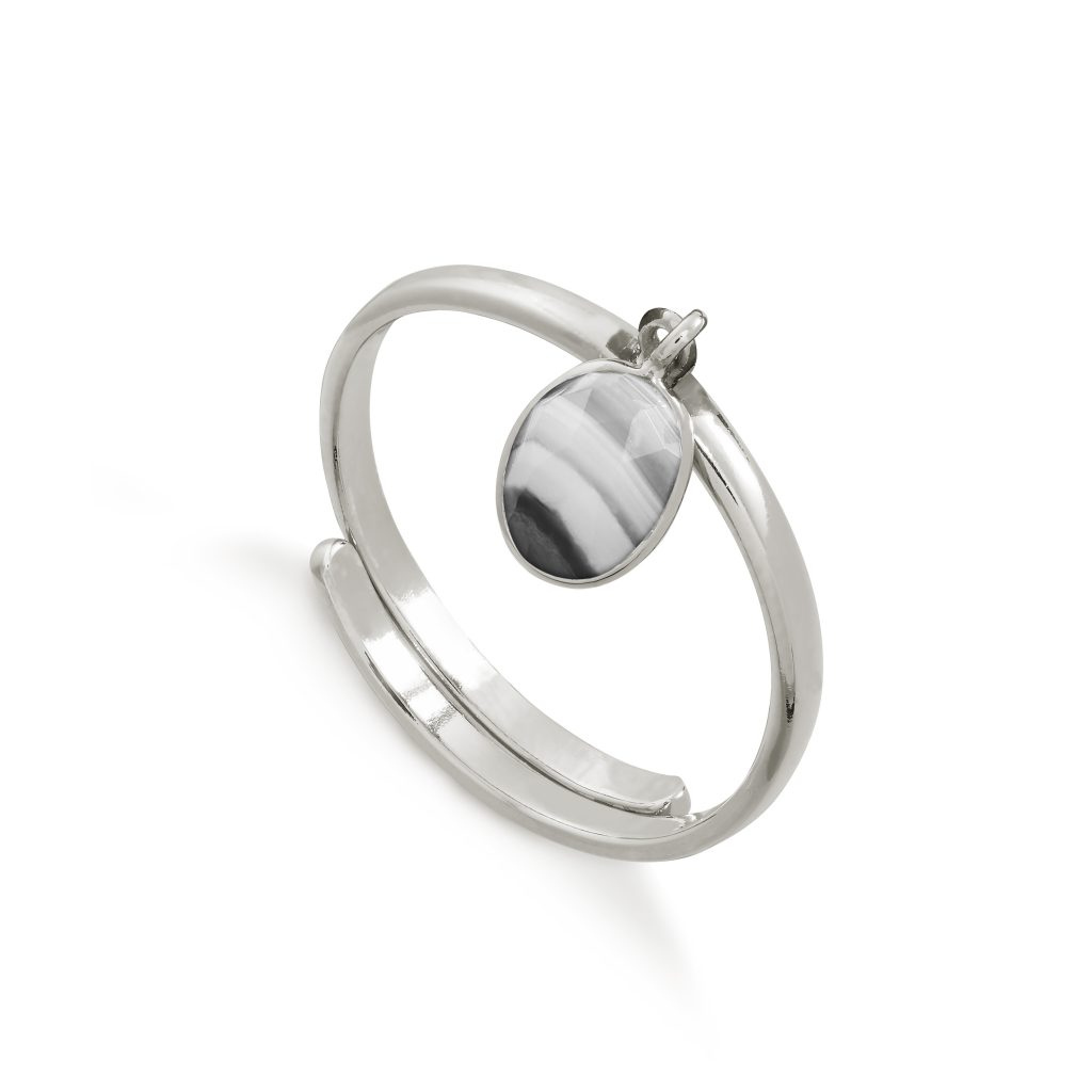Rio White Striped Black Agate Silver Ring