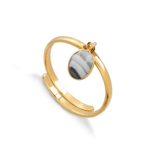 Rio White Striped Black Agate Gold Ring