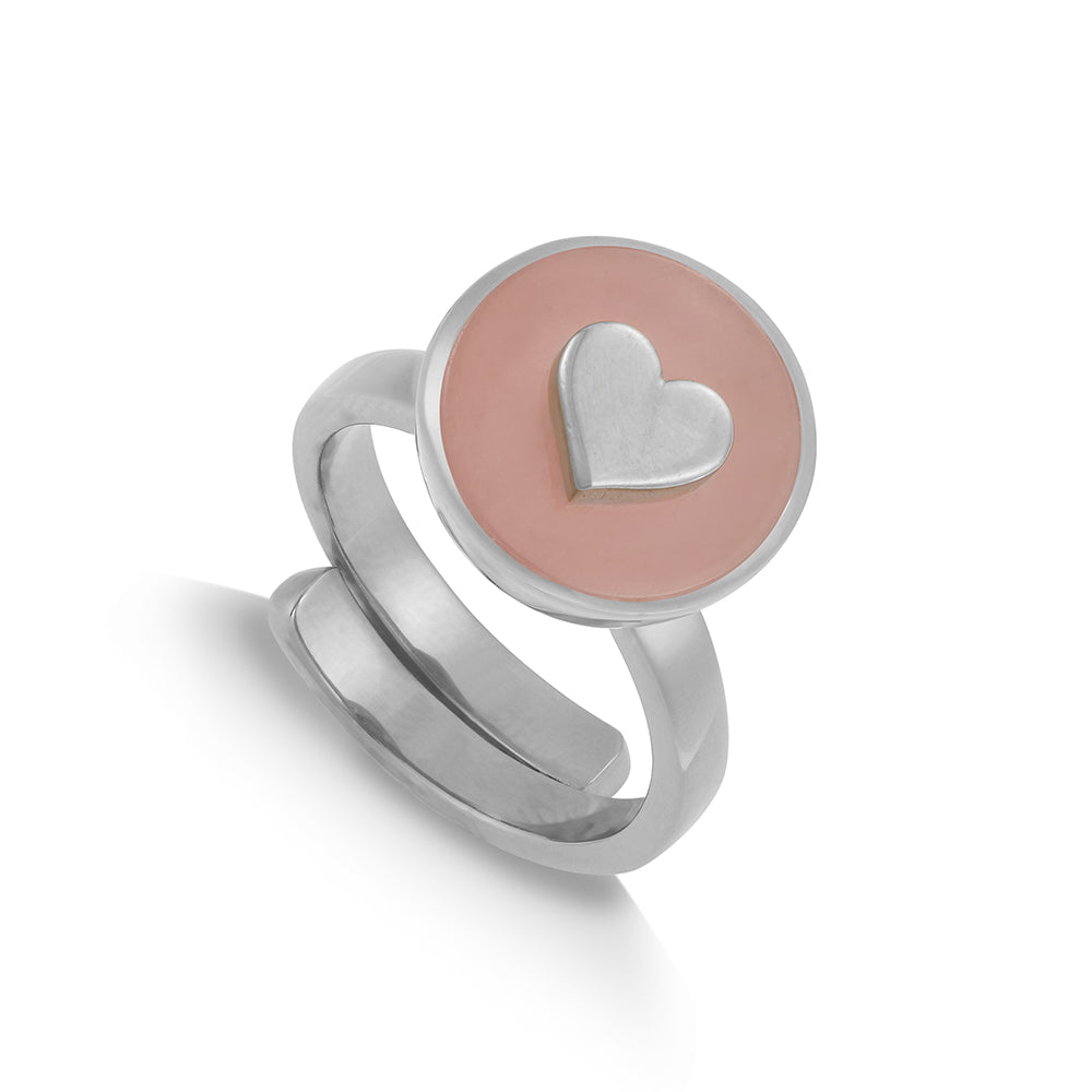 Stellar Midi Heart Rose Quartz Silver Ring