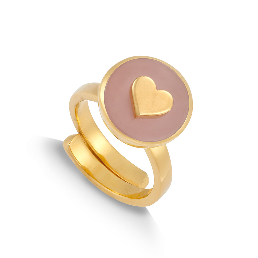 Stellar Midi Heart Rose Quartz Gold Ring