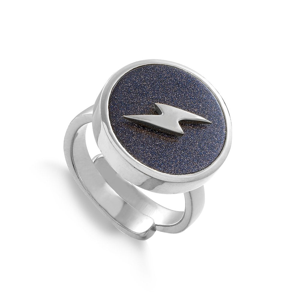 Stellar Lightning Blue Sunstone Silver Ring