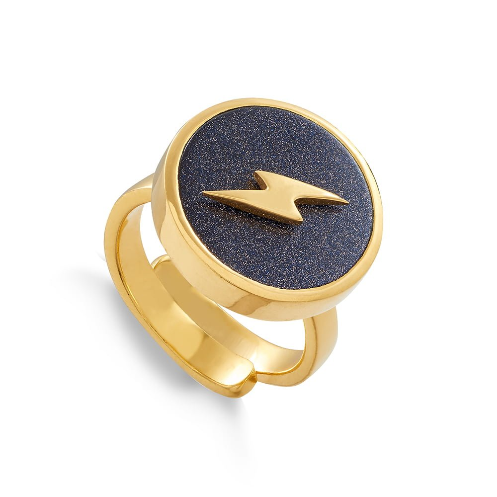 Stellar Lightning Blue Sunstone Gold Ring