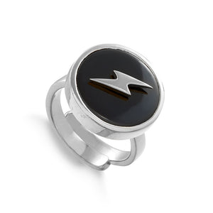 Stellar Lightning Black Quartz Silver Ring