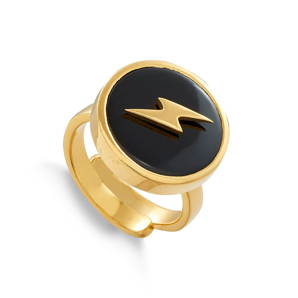 Stellar Lightning Black Quartz Gold Ring