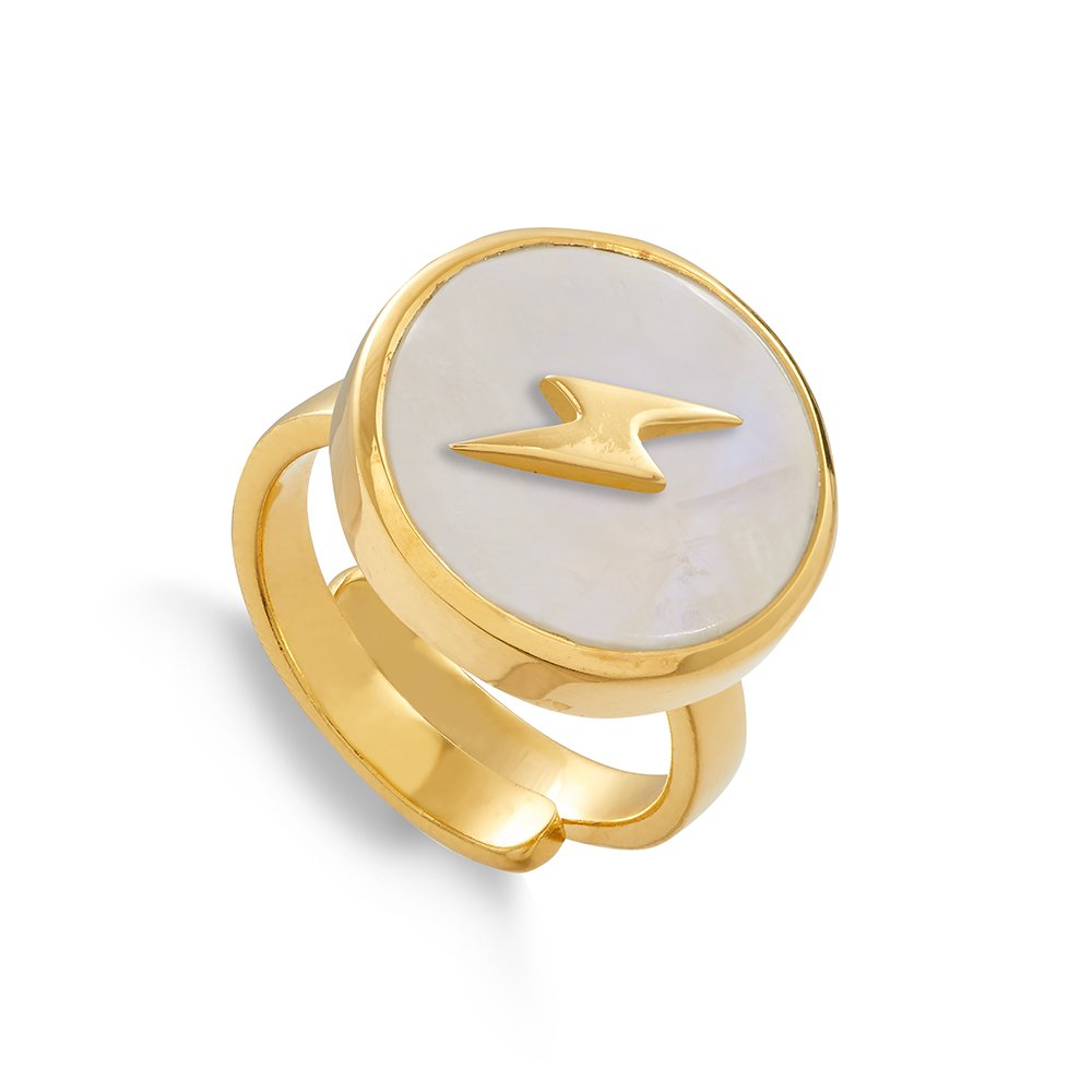 Stellar Lightning Rainbow Moonstone Gold Ring