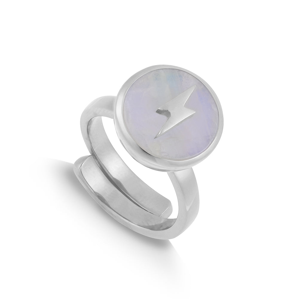 Rainbow Moonstone Silver Stellar Midi Adjustable ring showcasing an lightening motif