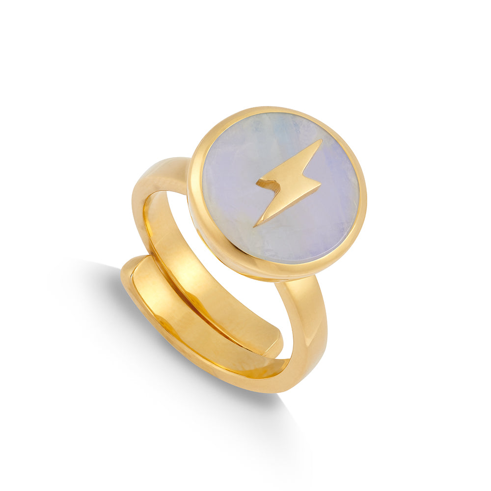 Rainbow Moonstone Gold Stellar Midi Adjustable ring showcasing an lightening motif