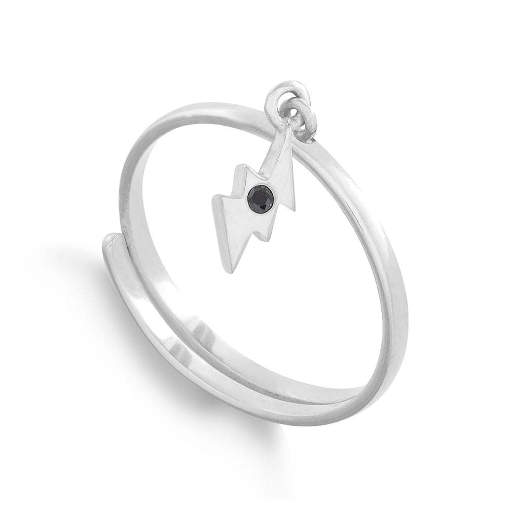 Supersonic Small Silver Lightening Charm Ring