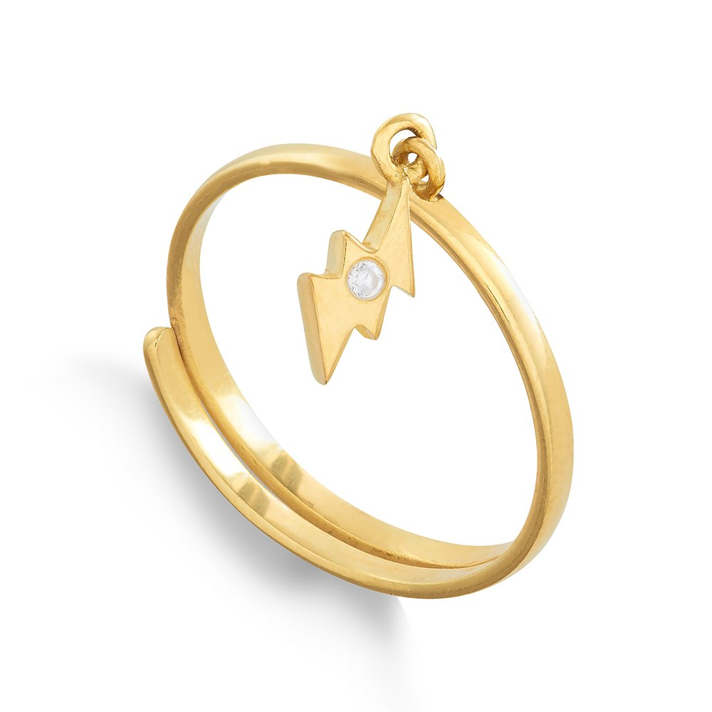 Supersonic Small Gold Lightening Charm Ring