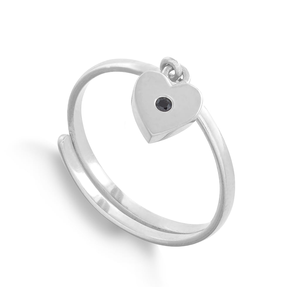 Supersonic Small Heart Silver Charm Ring