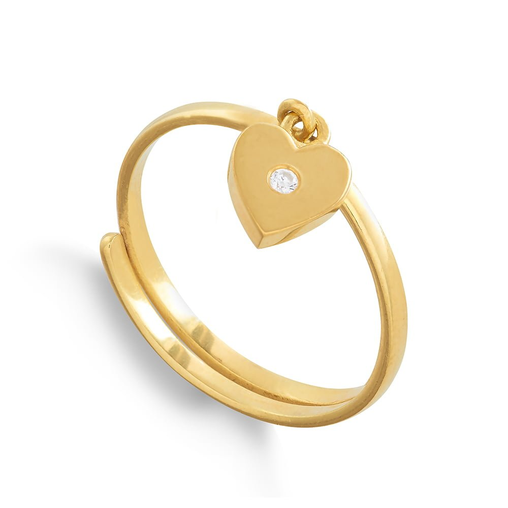 Supersonic Small Gold Heart Charm Ring