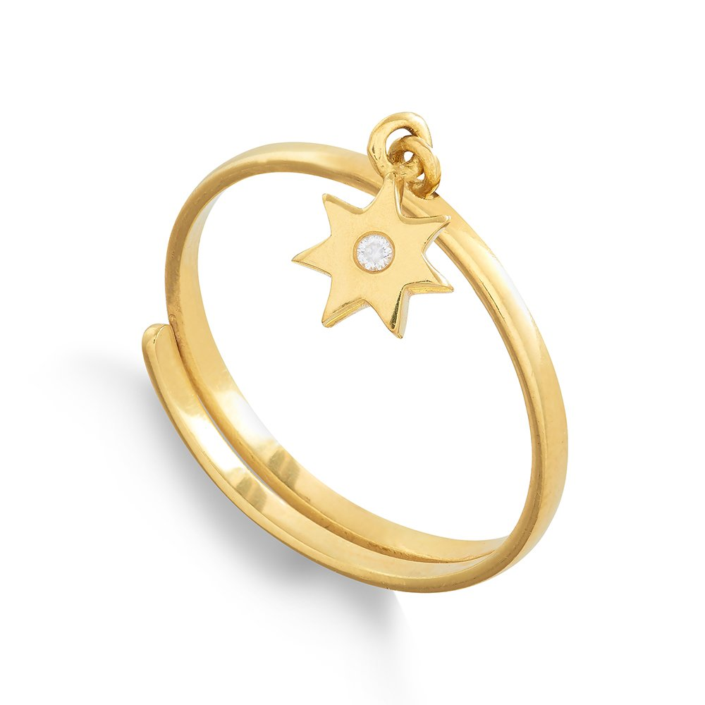 Supersonic Small Sunstar Gold Charm Ring