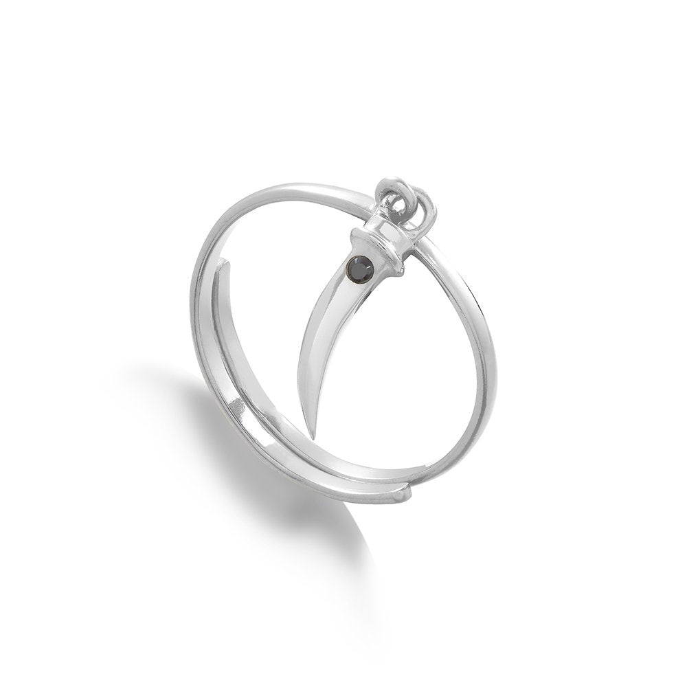 Supersonic Medium Tusk Charm Ring in Sterling Silver