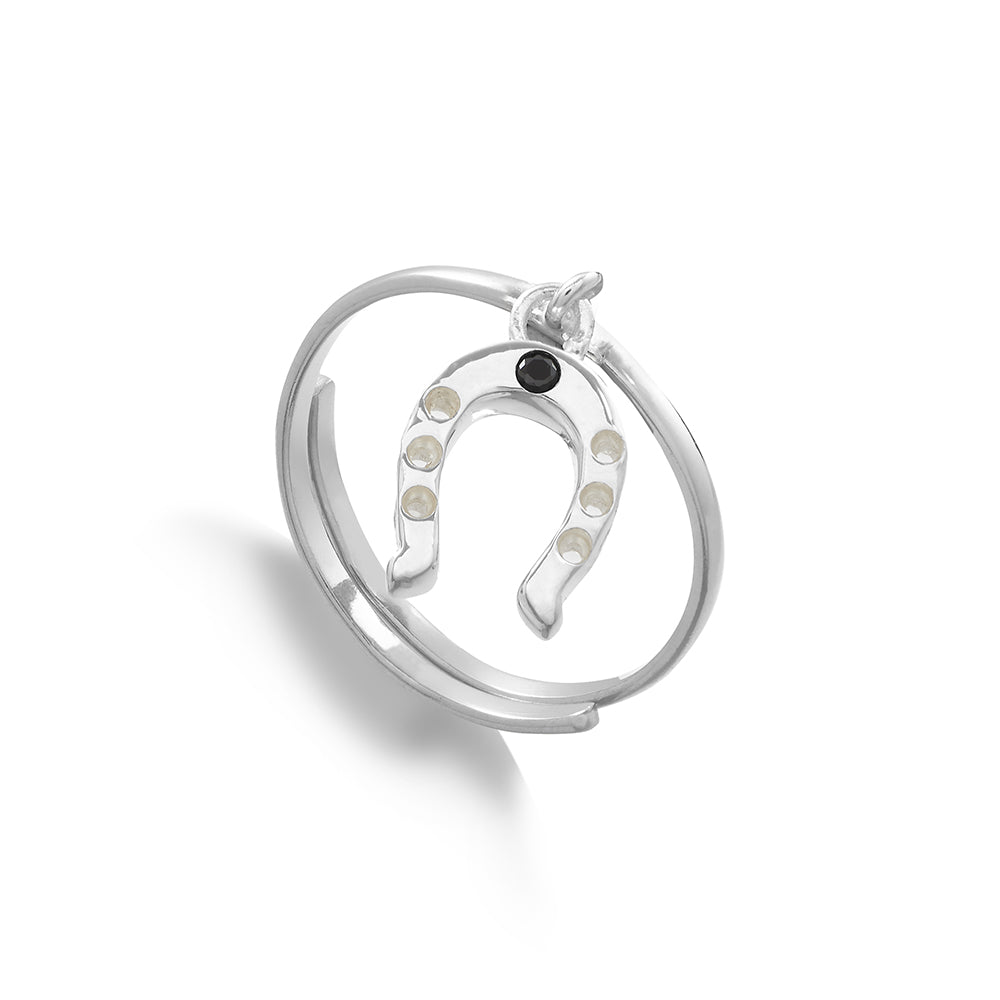Supersonic Medium Horseshoe Silver Charm Ring.