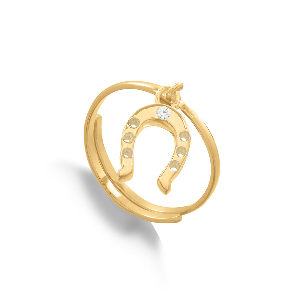 Supersonic Medium Horseshoe Gold Charm Ring.