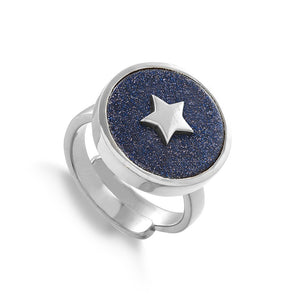 Star adjustable ring by SVP Jewellery. Stellar Star in sterling silver and blue sunstone