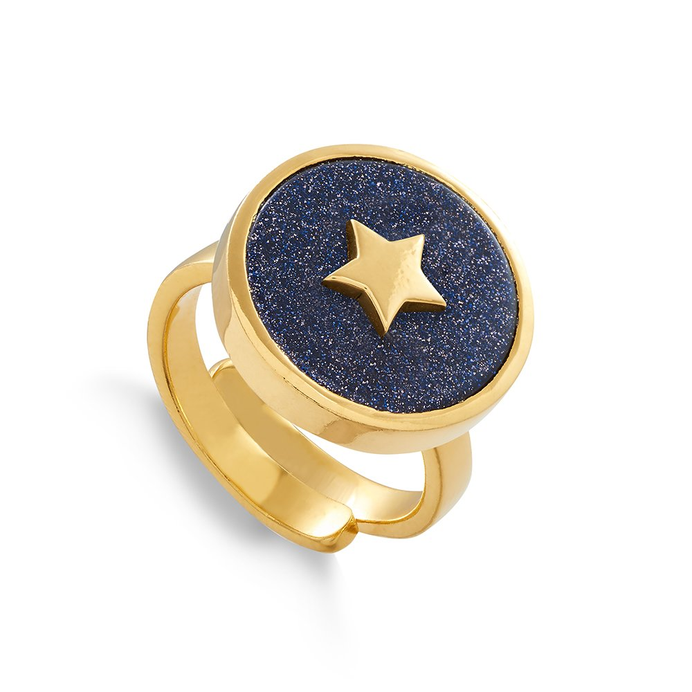 Star adjustable ring by SVP Jewellery. Stellar Star in 18 carat gold vermeil and blue sunstone