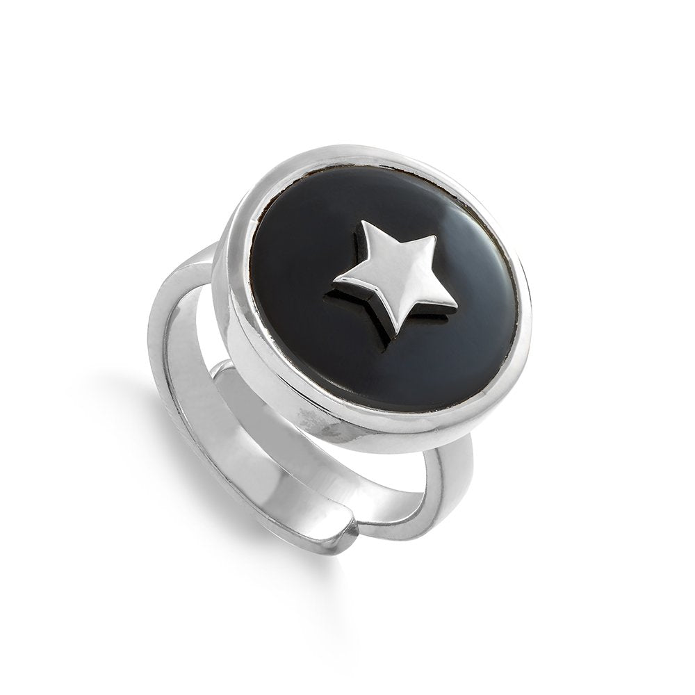 Star adjustable ring by SVP Jewellery. Stellar Star in sterling silver and black quartz