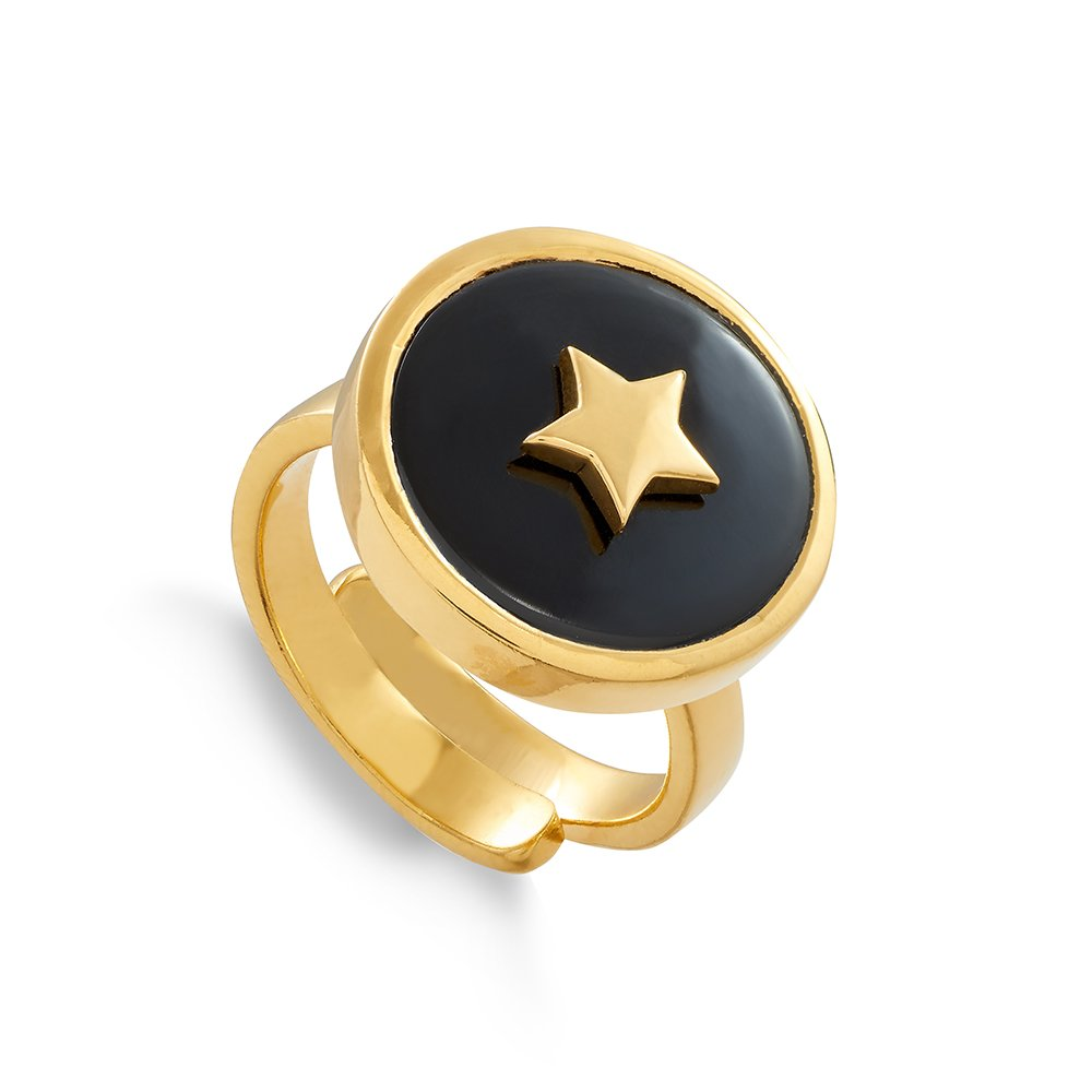 Star adjustable ring by SVP Jewellery. Stellar Star in 18 carat gold vermeil and black quartz