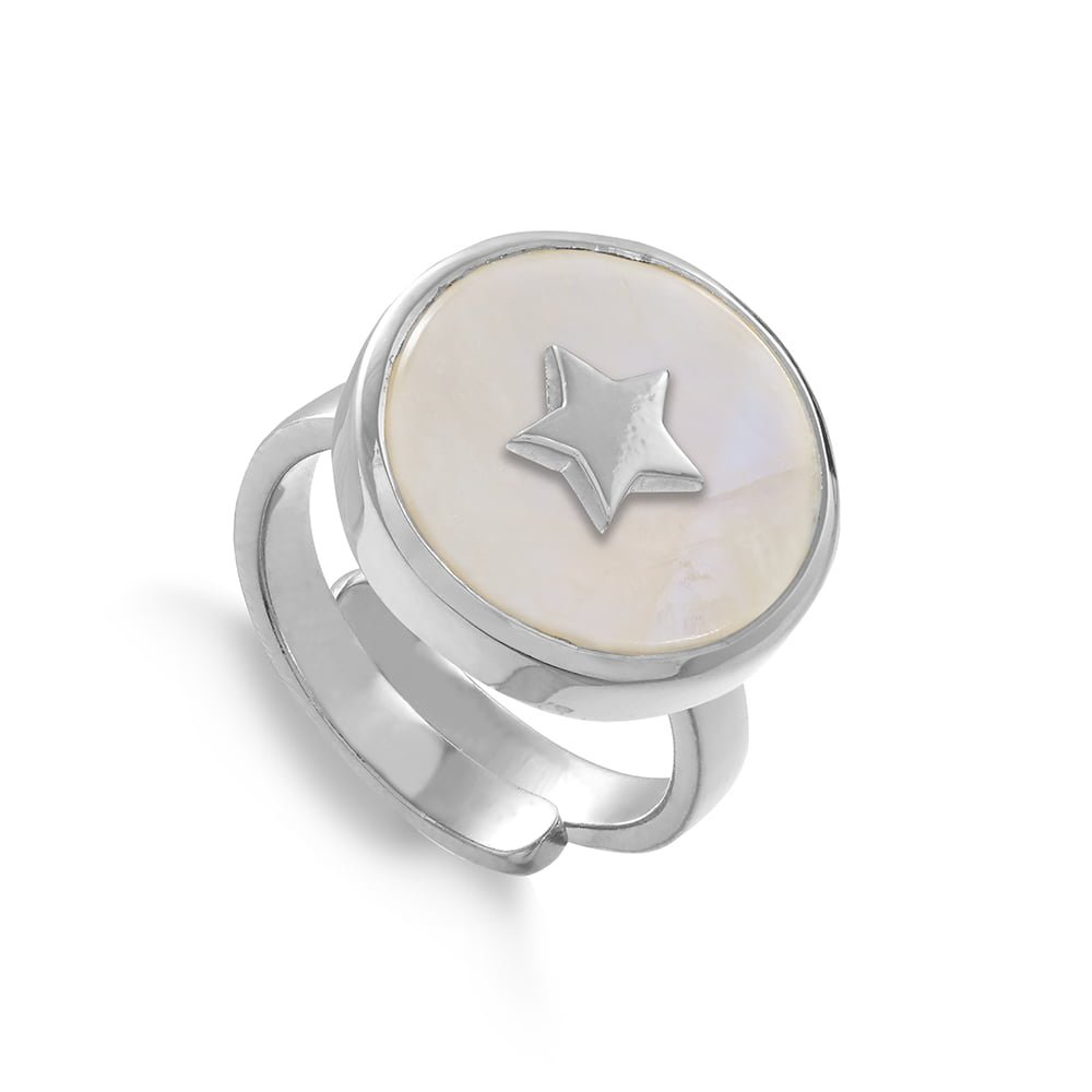 Star adjustable ring by SVP Jewellery. Stellar Star in sterling silver and rainbow moonstone