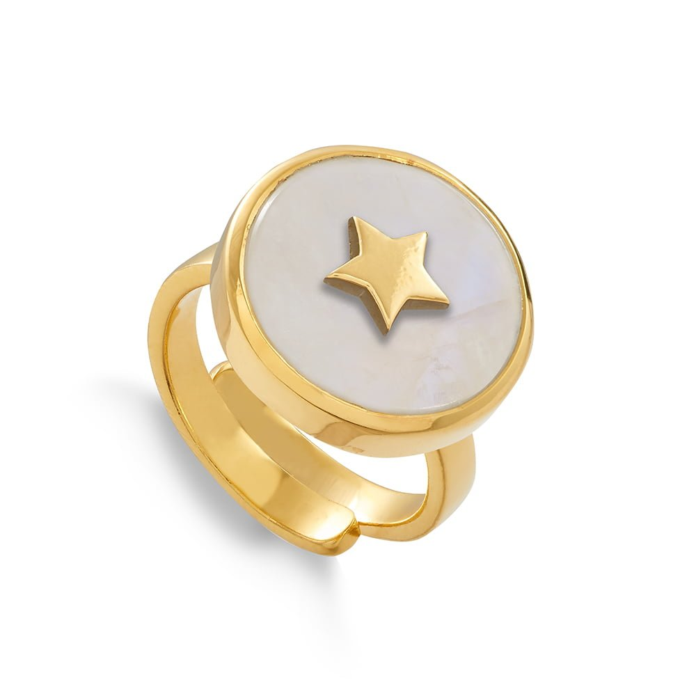 Star adjustable ring by SVP Jewellery. Stellar Star in 18 carat gold vermeil and rainbow moonstone