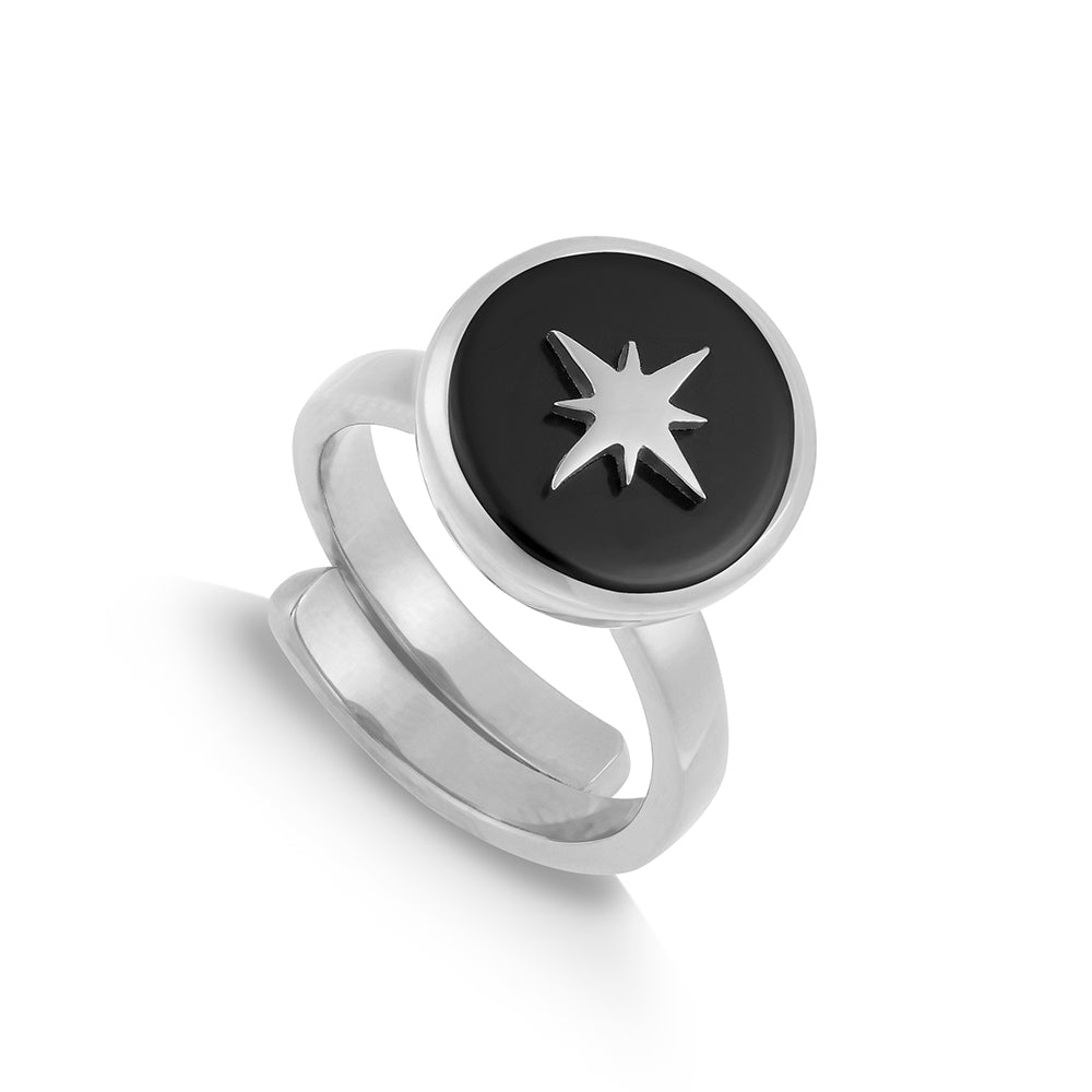 Black Quartz Silver Stellar Midi Adjustable ring showcasing an star motif