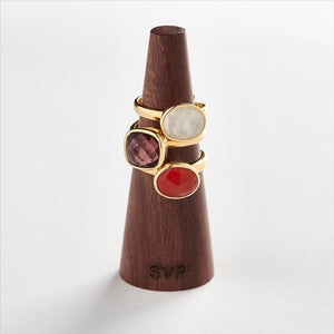 Dynamite Large Pink Mixed Quartz Gold Ring
