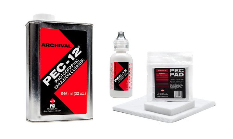 Pec-12 is a waterless Photographic Emulsion Cleaner which is suitable for use on most film and print emulsions. Pec Pad non-abrasive wipes are strong, lint-free and pure.