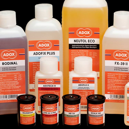 "Adox, the brand name recognised for traditional ""analog"" photographic film, photographic paper and chemistry, since 1860. All Adox films, photo papers and chemistry are made in their factories in Berlin-Germany and Switzerland."
