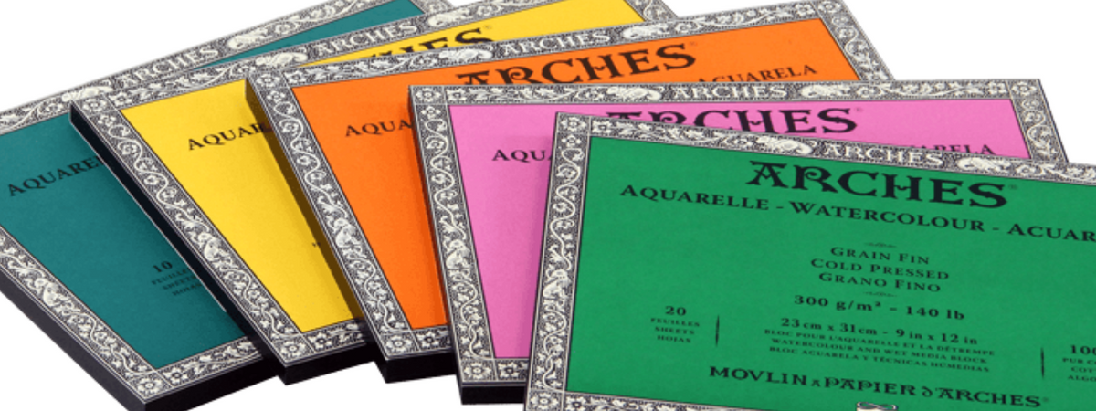 Arches Premium Art papers are available in 3 textures; cold pressed, hot pressed & rough, in sheets, rolls or pads. Arches Aquarelle has an even, natural grain. Ideal for watercolour painting, and for all wet ink, gouache & acrylic techniques.