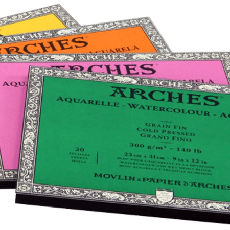 Arches Paper is an acid-free professional grade high quality watercolour paper, and ideal for other wet media or drawing, printmaking & alternative processes. Arches sheets, pads & blocks are available in rough, cold pressed & hot pressed surfaces.