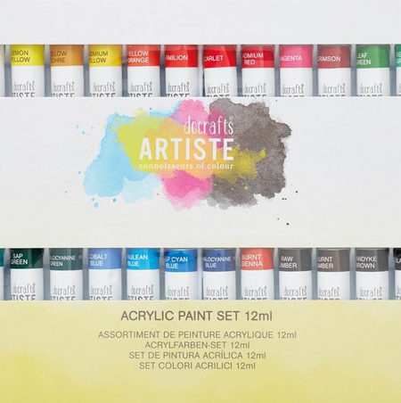 Artiste Arcylic Paints &Pens are the smart choice for those new to art & the more experienced alike, combining quality with ease-of-use. Offering an ever-expanding range of affordable art supplies, the Artiste range is a firm favourite for Art & Crafters.