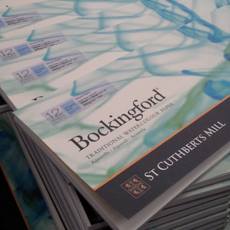 Bockingford is a beautiful English watercolour paper, traditionally made on a cylinder mould machine at St Cuthberts Mill. This is a high quality paper made using pure materials to archival standards. Available in Pads,  Spirals and Blocks.