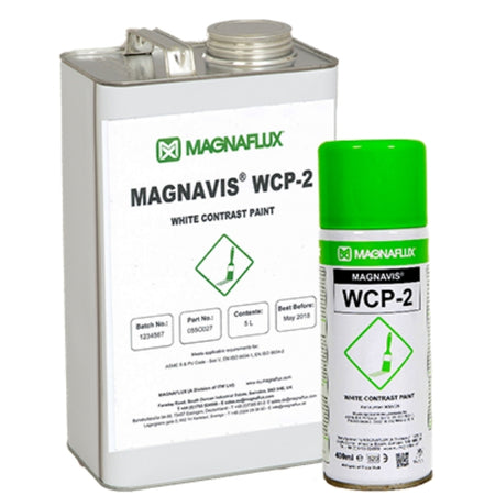 Magnaflux WCP-2  is a bright white, opaque NDT contrast paint, WCP-2 provides a high contrast background to improve probability of detection and sensitivity during visible magnetic particle inspections. This fast drying paint aerosol sprays on evenly.