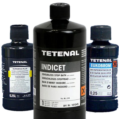 Tetenal black and white chemistry, including film and photo paper developer, stop, fixer, photo paper tones, stabilizer, wash aids and wetting solutions.