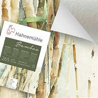 Hahnemuhle Bamboo 265 gsm is the first paper quality in the Hahnemuhle Traditional FineArt collection made of bamboo fibres.  The natural white paper has a unique surface suitable for different painting & drawing techniques such as watercolour, acrylic, pastel and for sketching and drawing with charcoal and red ochre. It offers a brilliant flow of colours and ensures high luminosity.