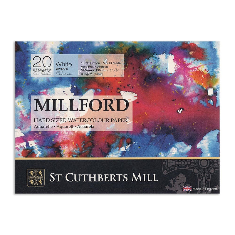 Millford Watercolour Block300gsm 12x9 In C/Pressed 20 Sh