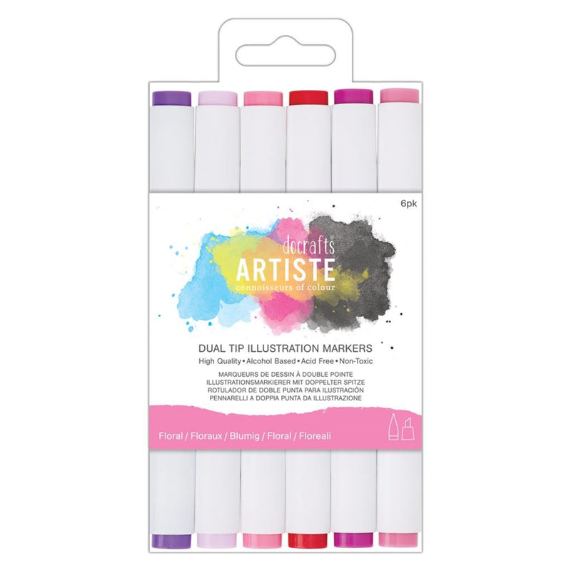 Docraft Dual Tip IllustrationMarkers Chisel/Brush 6P Floral