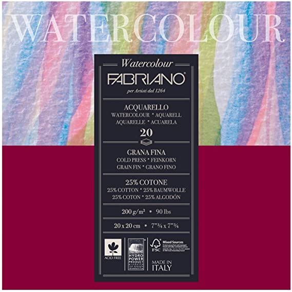 Fabriano Watercolour Blocks 200gsm Cold Pressed 20 Sheets